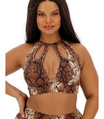 nevada snakeskin high neck bikini top