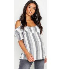 maternity linen cold shoulder ruffle top, black