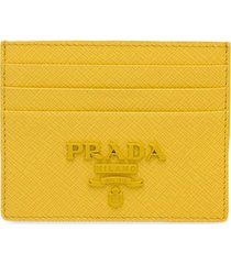 prada saffiano logo card holder - yellow