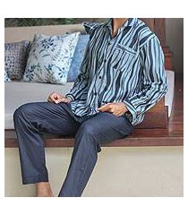 men's cotton pajamas, 'ocean fog' (indonesia)