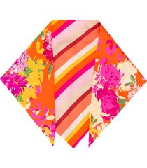 gianluca capannolo floral and stripes print scarf - orange