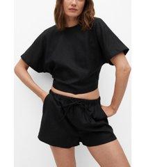 mango women's bow linen blouse