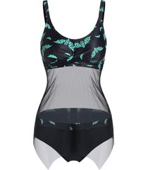 bat print twist sheer mesh insert tankini swimwear