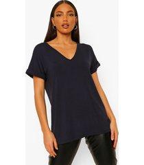 tall oversized t-shirt met v-hals, navy