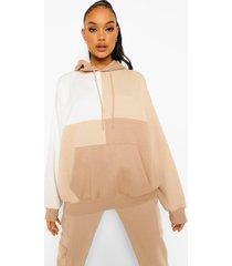 monochrome colour block hoodie, taupe