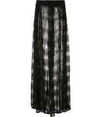 amir slama lace wide leg trousers - black
