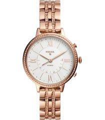 fossil women's tech jacqueline rose gold-tone stainless steel bracelet hybrid smart watch 36mm