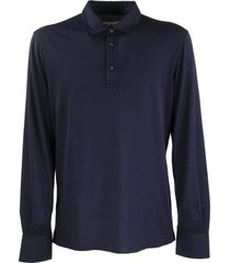 brunello cucinelli silk and cotton jersey long sleeve slim fit polo with shirt-style collar