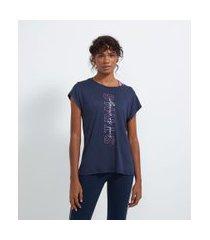 camiseta esportiva em viscose sem cava estampa frase | get over | azul | g