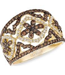 le vian women's chocolatier® 14k honey gold™, chocolate diamonds® & vanilla diamonds® statement ring - size 7