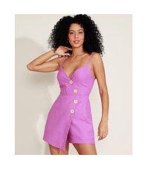 macaquinho feminino assimétrico com botões alça fina decote princesa rosa escuro
