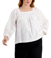 calvin klein plus size square-neck puff-sleeve top