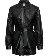 slflili ls long leather shirt jacket w overshirts zwart selected femme