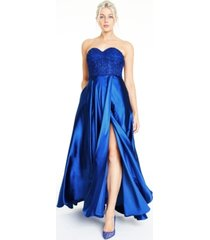 blondie nites juniors' floral-applique charmeuse gown