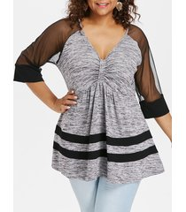 plus size mesh trim bow bust t-shirt
