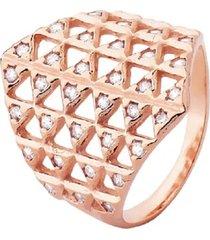 anel largo multi cristais zircônias banhado a ouro rosé