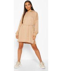 sweatshirt jurk met capuchon, touwtjes en ceintuur, biscuit