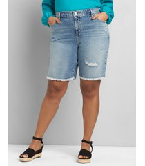 lane bryant women's signature fit denim boyfriend bermuda short - ripped light wash 28 light denim