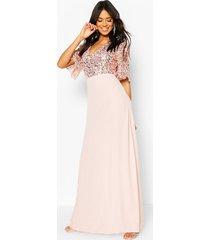 gelegenheids bruidsmeisjes angel maxi jurk met pailetten, blush
