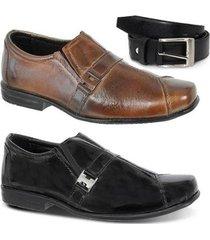 kit 2 pares de sapato social infantil e 1 cinto leoppé couro - masculino