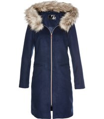 cappotto con collo in ecopelliccia (blu) - bpc selection