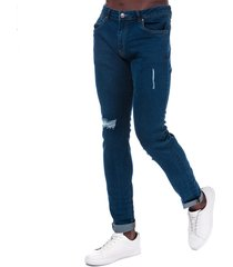 ringspun mens zeus ripped skinny fit jeans size 38r in blue