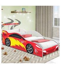 cama carrinho solteiro vermelho casah