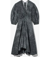 proenza schouler white label dot print puff sleeve poplin dress 22493 steel blue/black dot 0