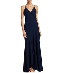 long front ruffle & trim wrap gown