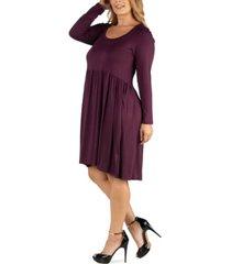 24seven comfort apparel knee length pleated long sleeve plus size dress