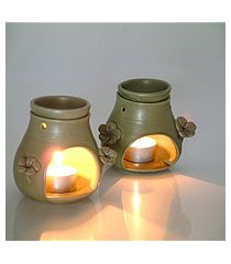ceramic oil warmer, 'frangipani dreams' (indonesia)