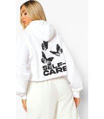 korte self care vlinder hoodie, white