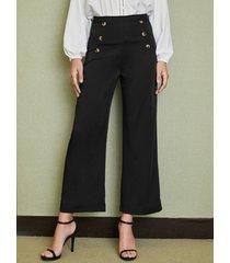 yoins botón negro diseño liso de talle alto pantalones