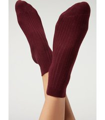 calzedonia short ribbed socks with cotton and cashmere woman burgundy size 39-41