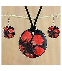ceramic jewelry set, 'floral melody' (thailand)