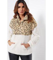 bloque de color cremallera delantera cuello de chimenea de leopardo manga larga sudaderas mullidas