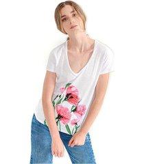 camiseta para mujer para mujer color blanco, cuello en v, manga corta color-gris-talla-xl
