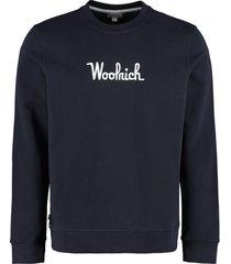 woolrich logo embroidered cotton sweatshirt