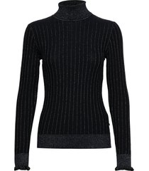 turtle neck in knitted rib with details turtleneck coltrui zwart scotch & soda