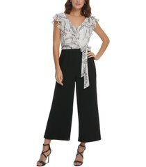 dkny ruffled printed & solid jumpsuit