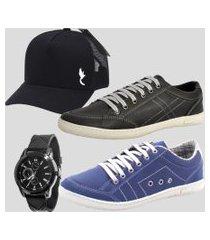kit 2 pares dexshoes sapatênis casual masculino preto e azul acompanha boné e relógio