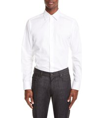 emporio armani trim fit solid dress shirt, size 17 in solid white at nordstrom