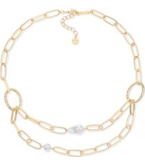 """alfani gold-tone imitation pearl two-row chain necklace, 20"""" + 2"""" extender, created for macy's"""