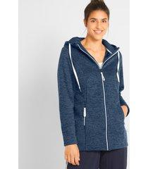 fleece vest met capuchon, lange mouw