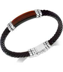 effy men's tiger's eye brown leather bracelet in sterling silver