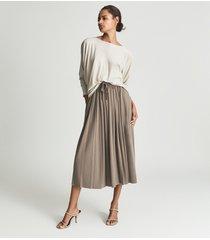 reiss ariella - fine jersey pleated midi skirt in mink, womens, size 14