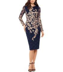 xscape lace-detail long-sleeve sheath dress