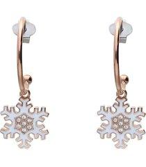 orecchini a cerchio lady sweet acciaio rosato fiocco di neve e cristalli per donna