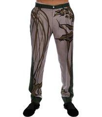 leaves print silk dress formal pants