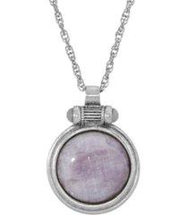 2028 silver-tone cap amethyst round pendant necklace